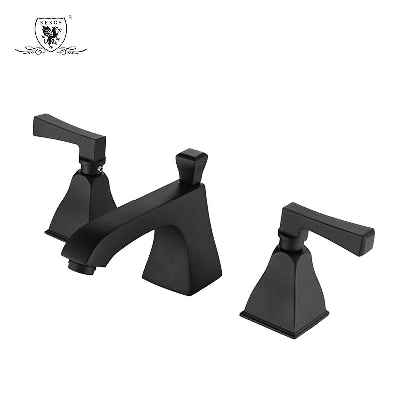 Split Basin Mixer  Three-hole basin faucet Black and gold 36098